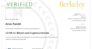 Certificate in Bitcoin & Cryptocurrencies from University of California, Berkeley Edx : Arun Pandit Certificate in Bitcoin Cryptocurrencies from University of California Berkeley Edx Arun Pandit