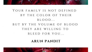 Photo of Quote on Family and Blood  by Arun Pandit
