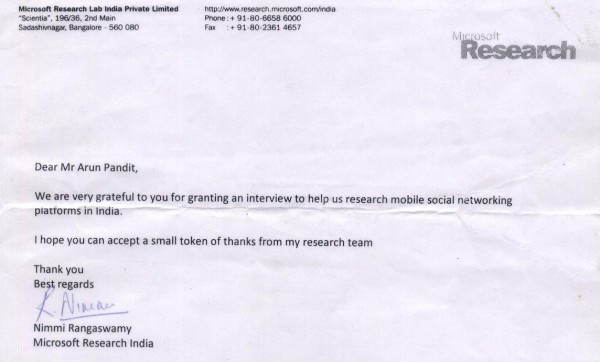 Arun Pandit : Interviewed by Microsoft Research India for studying Mobile Social Network Platforms in India