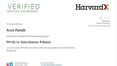 Photo of R Basics : Certificate of Achievement from HarvardX