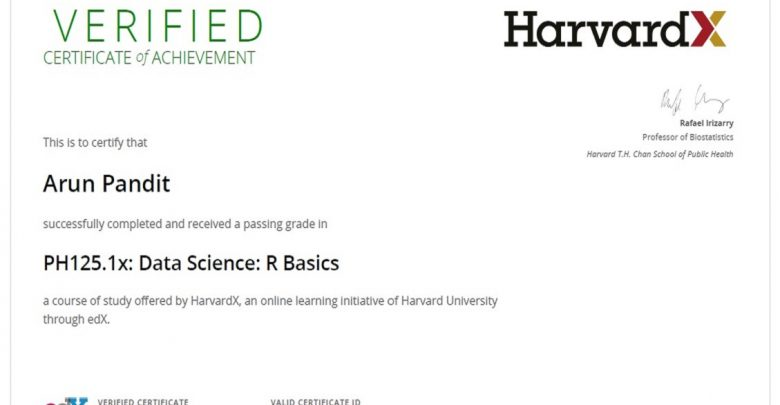 R Basics : Certificate of Achievement from HarvardX | Arun Pandit