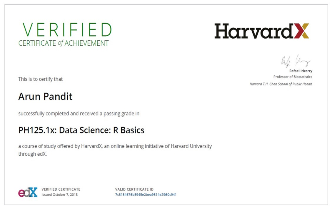 R Basics : Certificate of Achievement from HarvardX Certificate of Achievement from HarvardX Arun Pandit