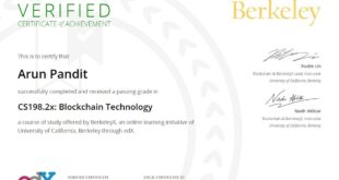 Certificate of Achievement : Blockchain Technology from University of California , Berkeley Certificate of Achievement Blockchain Technology from University of California Berkeley