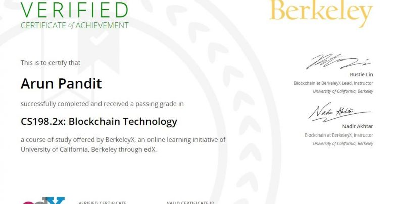 Photo of Certificate of Achievement : Blockchain Technology from University of California , Berkeley
