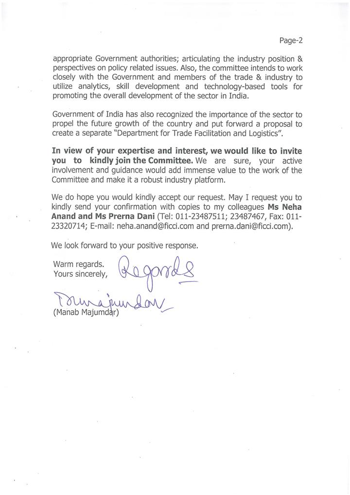 Arun Pandit Invited to be a member of FICCI National Committee on Logistics FICCI National Committee on Logistics Invitation Arun Pandit page 2