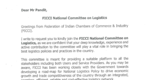 Arun Pandit Invited to be a member of FICCI National Committee on Logistics FICCI National Committee on Logistics invite to Arun Pandit