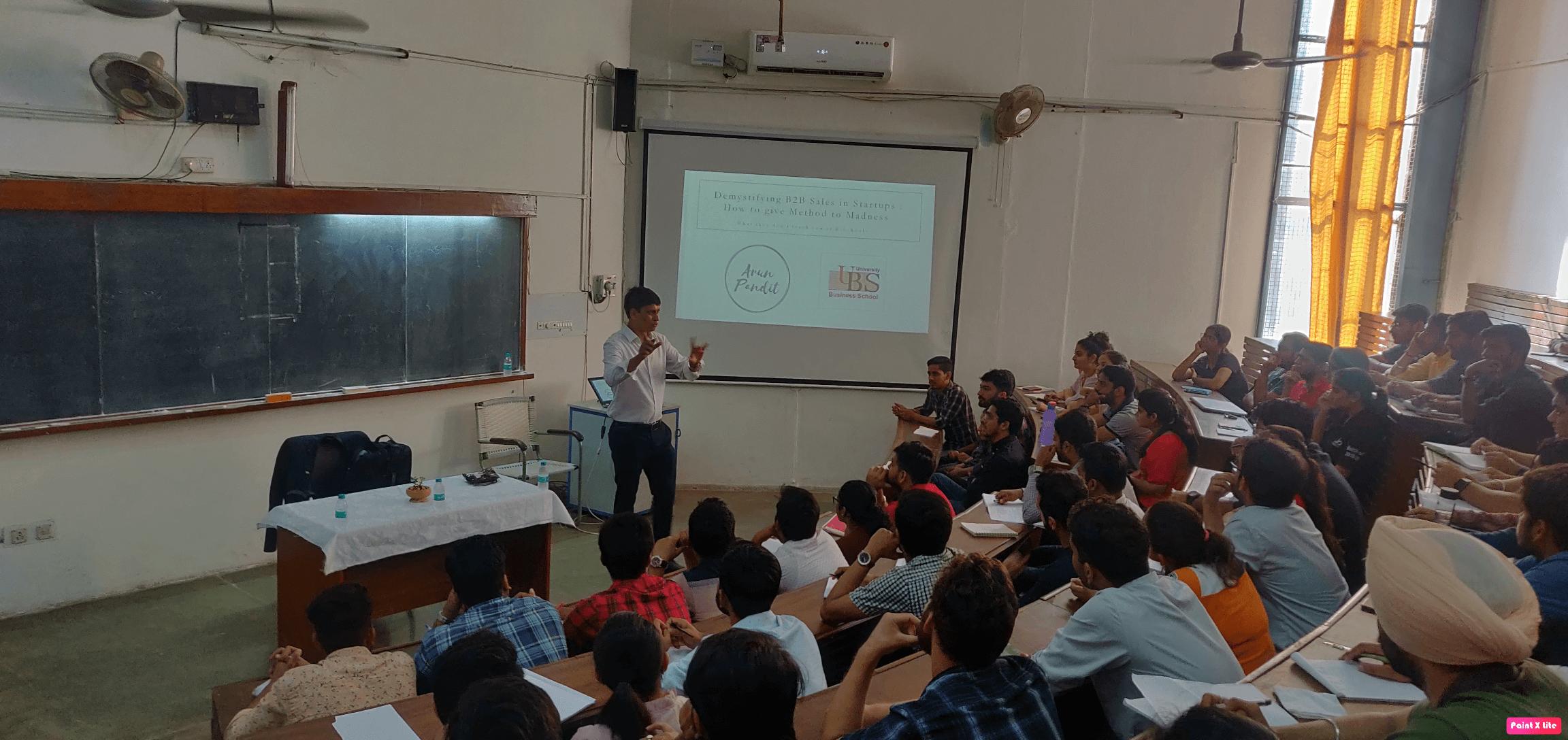 Seminar on  Demystifying B2B Sales in Startups at UBS , Panjab University Arun Pandit Sales seminar pics