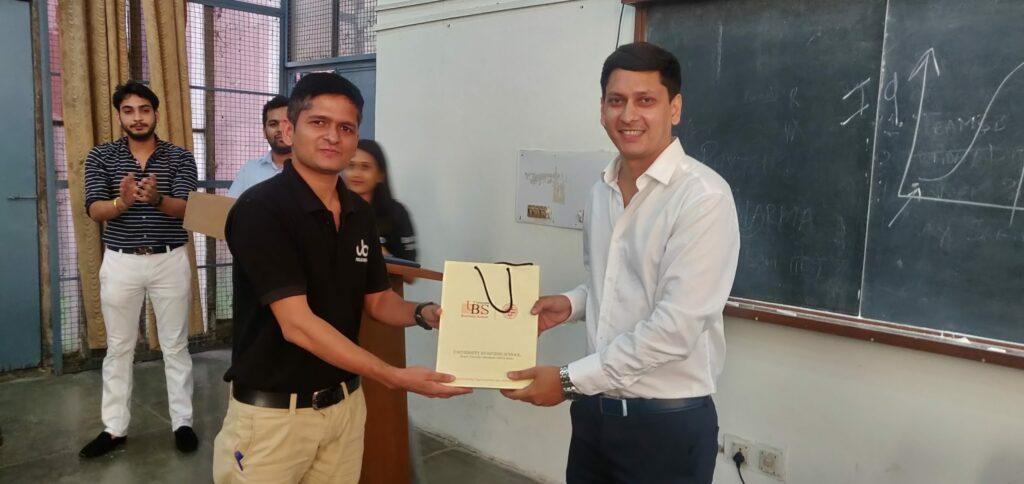 Seminar on  Demystifying B2B Sales in Startups at UBS , Panjab University Felicitation UBS Arun Pandit
