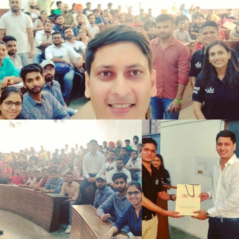 Seminar on  Demystifying B2B Sales in Startups at UBS , Panjab University UBS Sales Seminar Arun Pandit