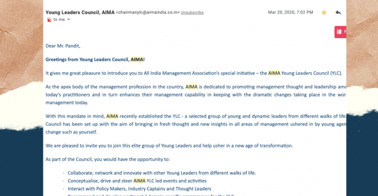 Photo of Arun Pandit Invited to be a Member of the Young Leaders Council ( Y.L.C.) by A.I.M.A.
