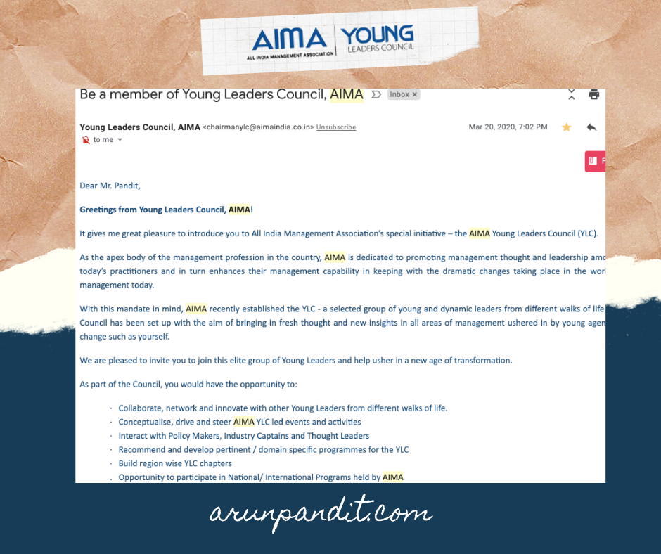 Arun Pandit Invited to be a Member of the Young Leaders Council ( Y.L.C.) by A.I.M.A. AIMA Arun Pandit YLC Invite