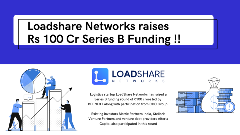 Logistics Startup Loadshare Networks raises Rs 100 Cr in Series B Funding Loadshare Networks Rs 100 Cr Series B Funding Logistics Startup