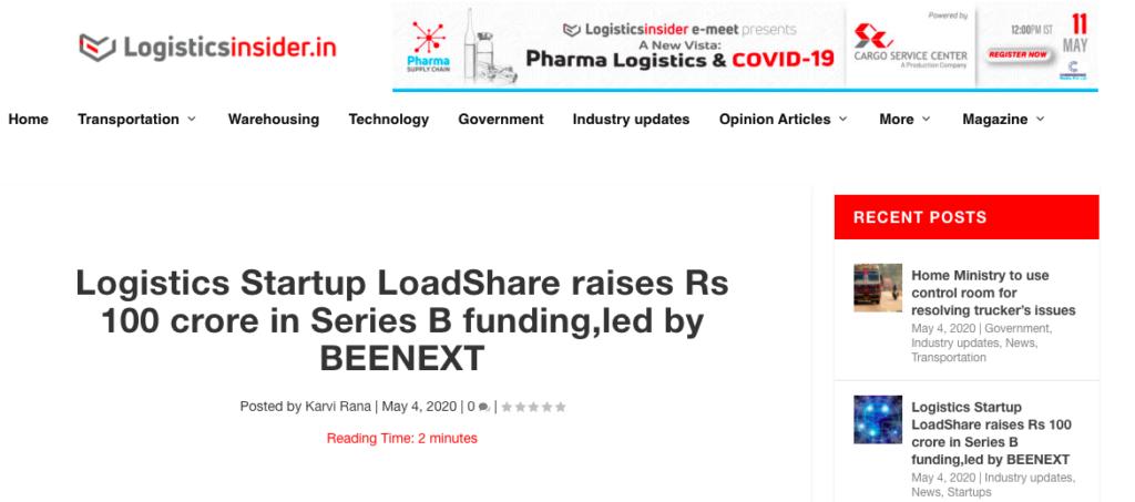 Logistics Startup Loadshare Networks raises Rs 100 Cr in Series B Funding Series B Funding Logistics Insider Media Coverage