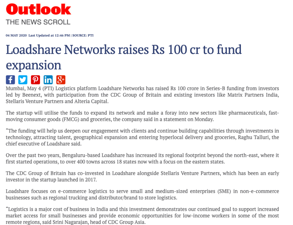 Logistics Startup Loadshare Networks raises Rs 100 Cr in Series B Funding Series B Funding Outlook Media Coverage