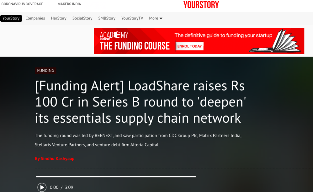 Logistics Startup Loadshare Networks raises Rs 100 Cr in Series B Funding Series B Funding Your Story Media Coverage