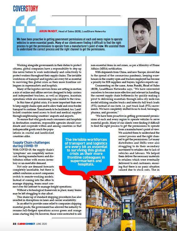 Moving Cargo in times of Corona by Arun Pandit : Cargo Connect Magazine June 2020 Cargo Connect Moving Cargo in Corona Times Loadshare Networks Arun Pandit