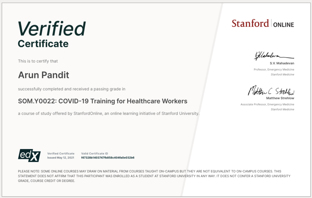 Stanford Online Covid19  Certification