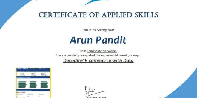 Basecamp Certificate of Applied Skills Arun Pandit