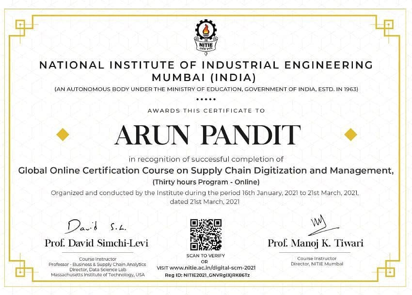 Global Online SCM Certification by NITIE
